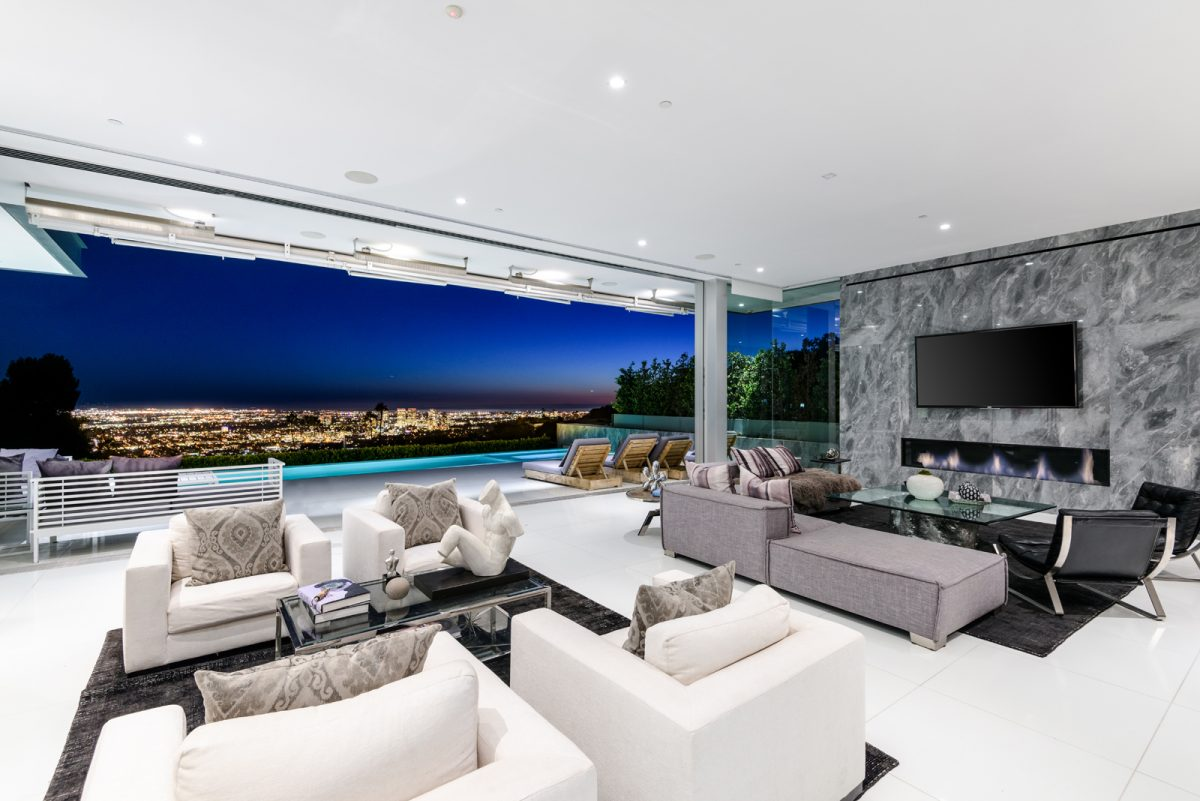 Living Room with City Lights View