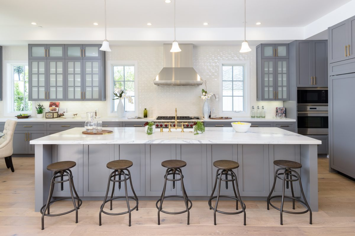 Staged kitchen in a new construction home