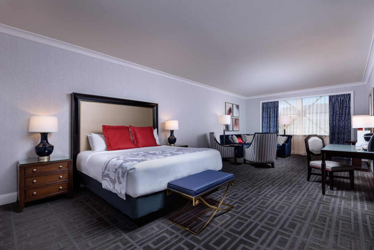 Hotel suite in blue and gray