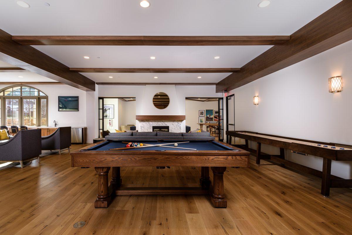 Pool table, condominium community center